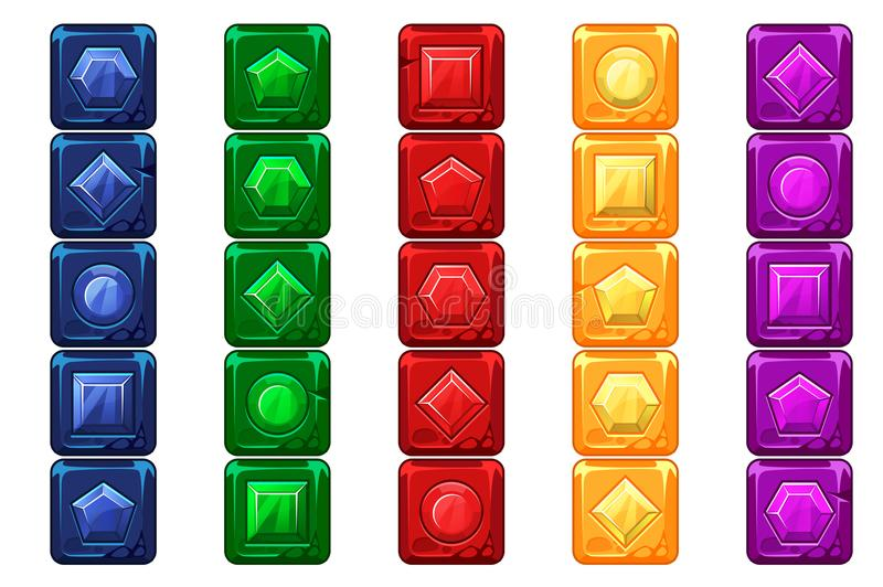 Cartoon gems, multi-colored stone buttons For Ui Game vector illustration