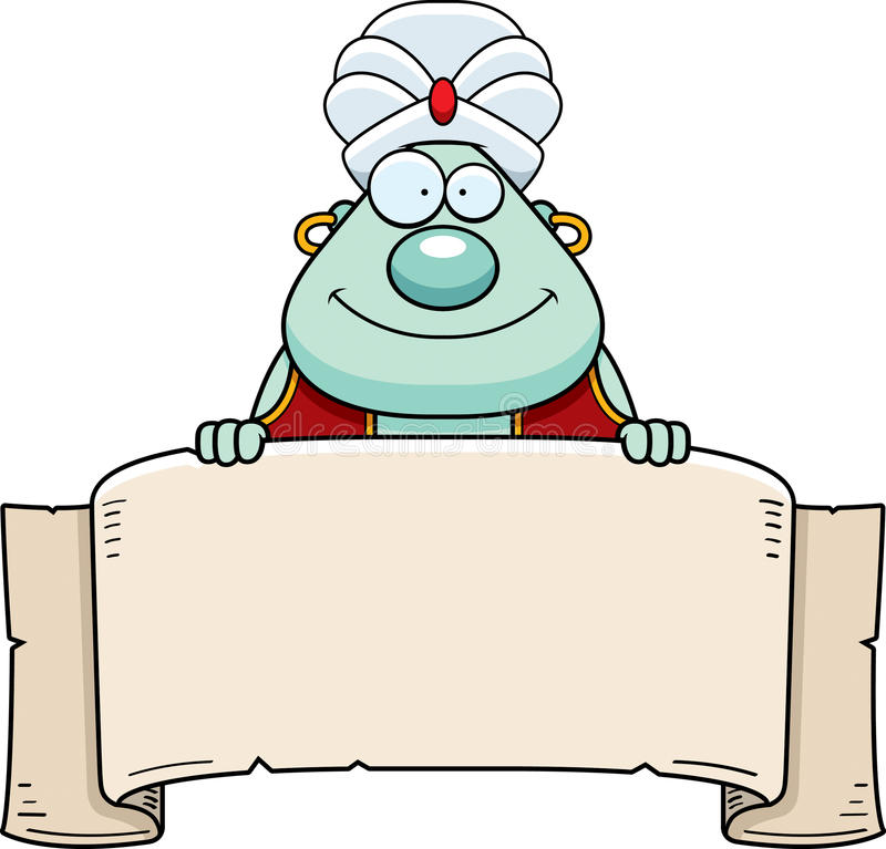 Cartoon Genie Banner stock illustration