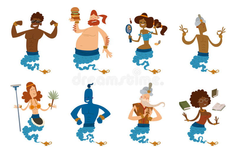 Cartoon genie character magic lamp vector illustration treasure aladdin miracle djinn coming out isolated legend set royalty free illustration