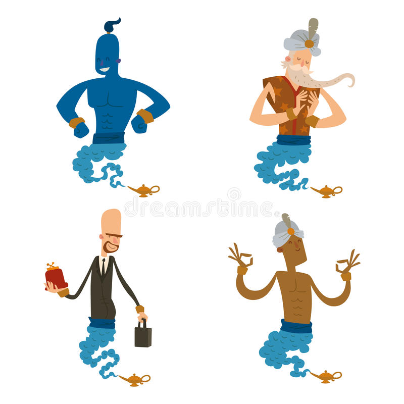Cartoon genie character magic lamp vector illustration treasure aladdin miracle djinn coming out isolated legend set stock illustration