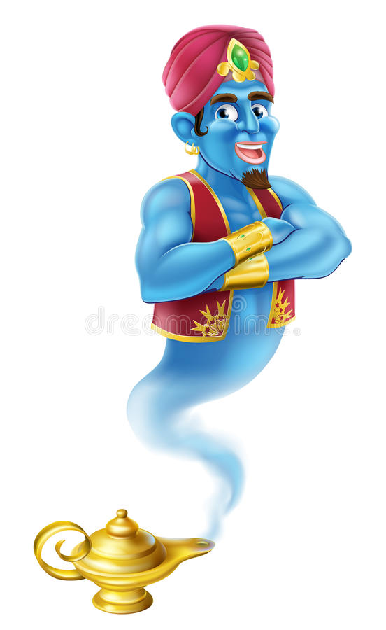 Cartoon Genie. An illustration of a Cartoon Genie like in the story of Aladdin coming out of a magic lamp stock illustration