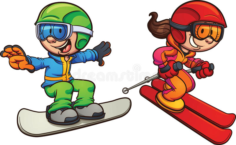 cartoon ghosts stock vector illustration of skiing girl 72410971 rh dreamstime com snowboarding cartoon clipart snowboarding clipart black and white