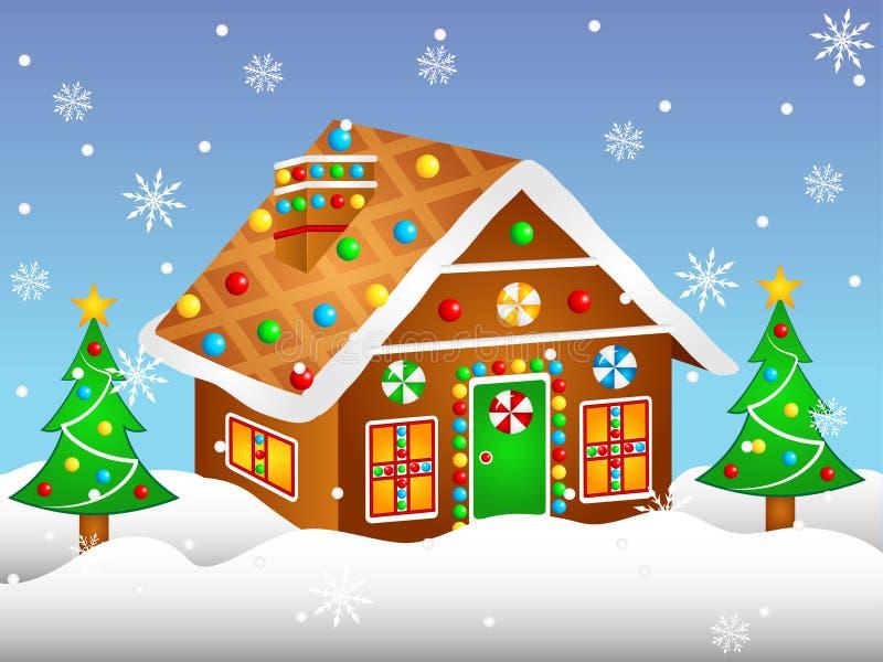 Cartoon Gingerbread House stock illustration