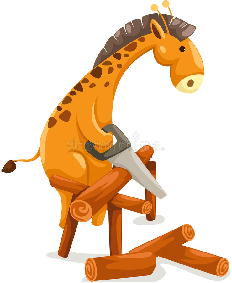 Cartoon giraffe cutting firewood vector illustration