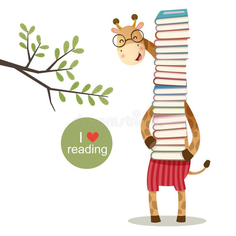 Cartoon giraffe holding a pile of books vector illustration