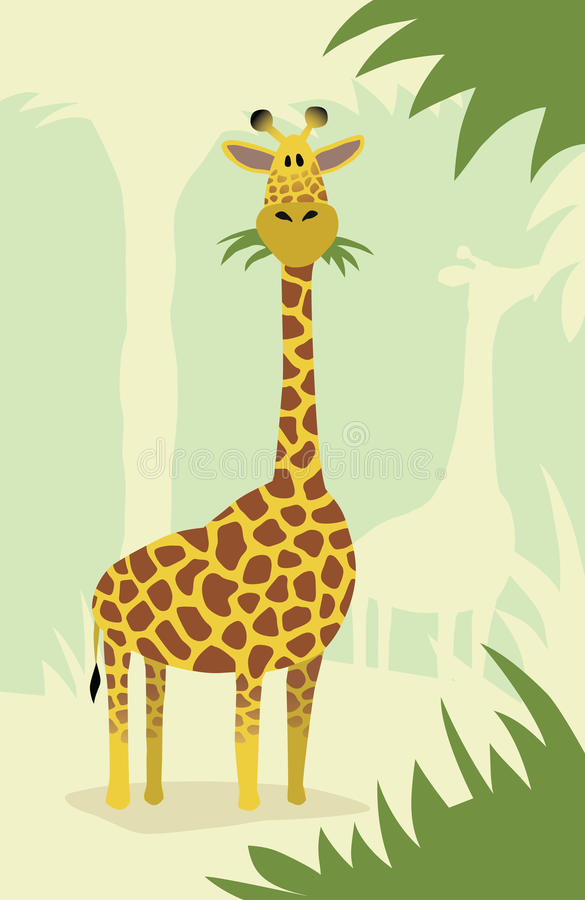 Download Cartoon giraffe with trees stock vector. Illustration of foliage - 19323702