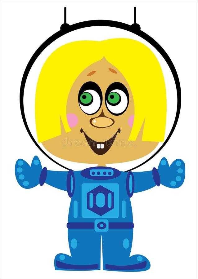 Cartoon Girl Astronaut On White Stock Photos - Image: 30579363