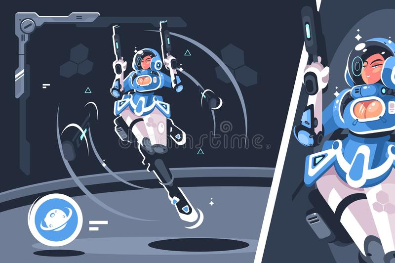 Cartoon girl with blaster gun. Vector illustration. Young woman wearing space suit holding laser weapon in hands flat style concept. Spaceship and cosmos royalty free illustration