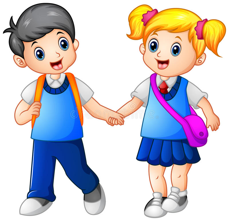 Cartoon girl and boy go to school together stock illustration