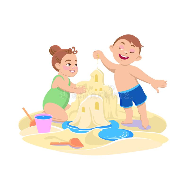 Cartoon girl and boy playing in the sand on the beach vector illustration