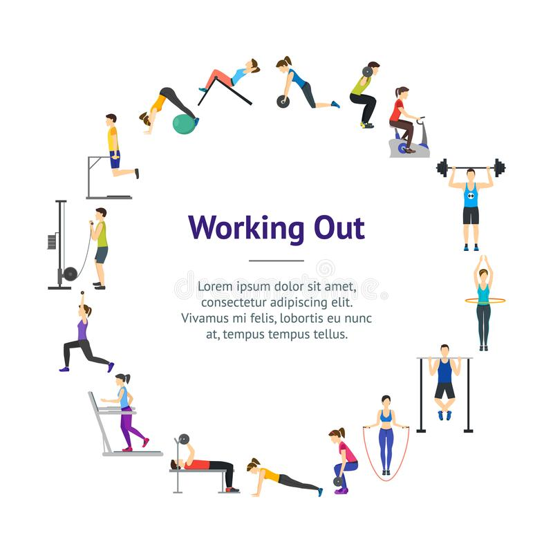 Cartoon Girl and Boy Workout Exercise in Gym Banner Card Circle. Vector. Cartoon Girl and Boy Workout Exercise in Gym Banner Card Circle Body Training Flat stock illustration