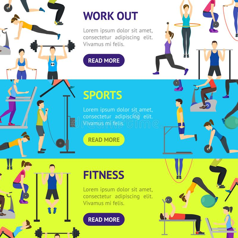 Cartoon Girl and Boy Workout Exercise in Gym Banner Horizontal Set. Vector royalty free illustration