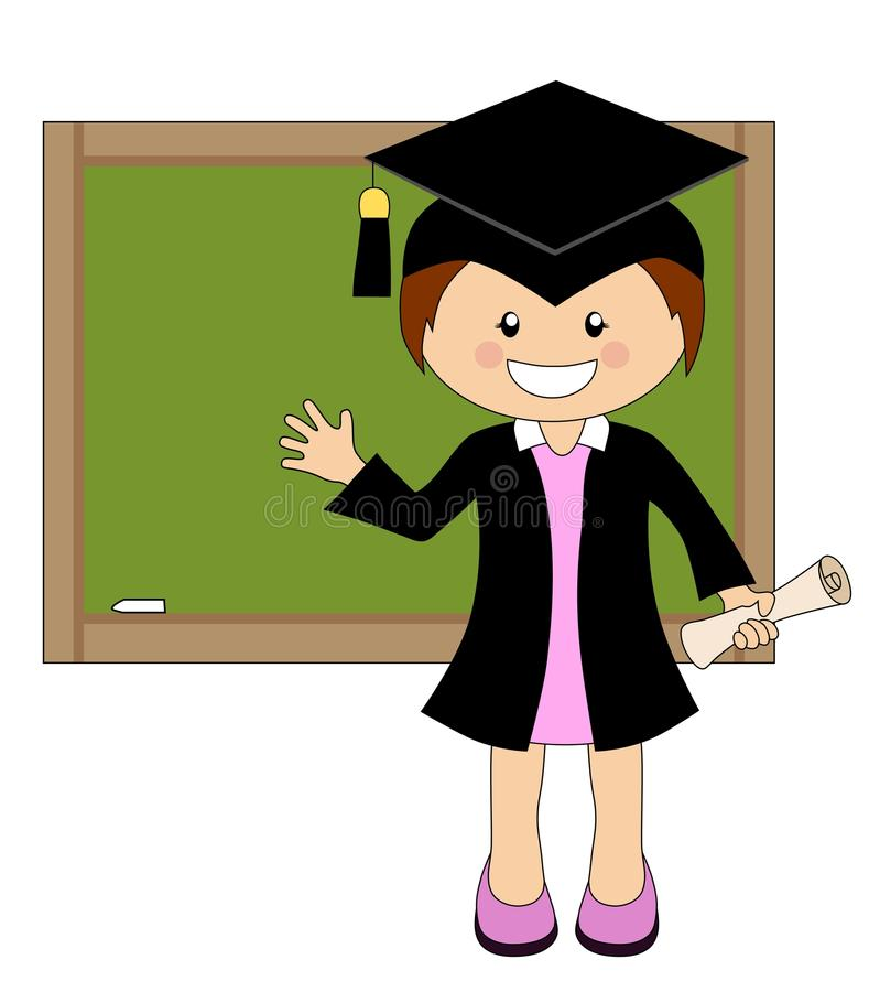 Cartoon Girl In Cap And Gown Graduate In Front Of School Board Stock ...