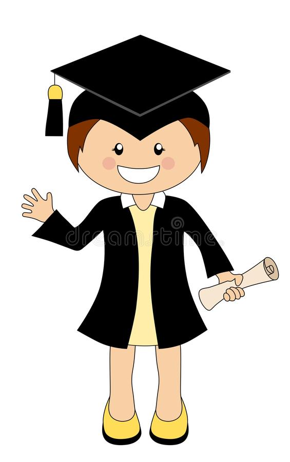 Cartoon Girl In Cap And Gown Graduate Holding A Scroll