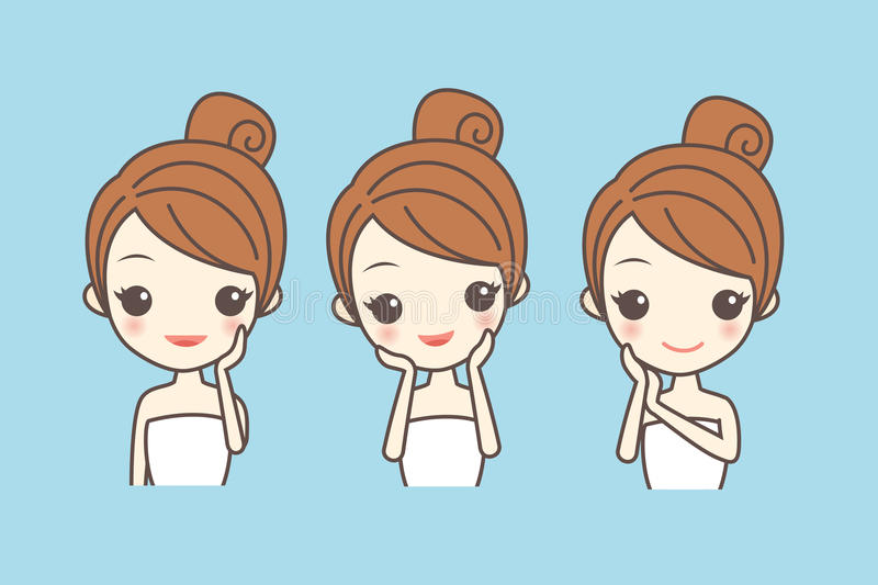 Cartoon girl care her face. With various actions, facial, beauty