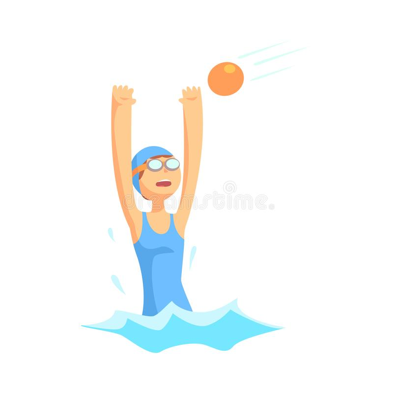 Girl character in swimsuit and goggles playing in water polo royalty free illustration