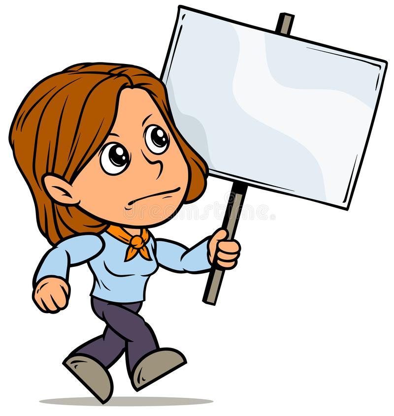 Free Cartoon Girl Character With Blank Streamer Sign Stock Photo - 131409810