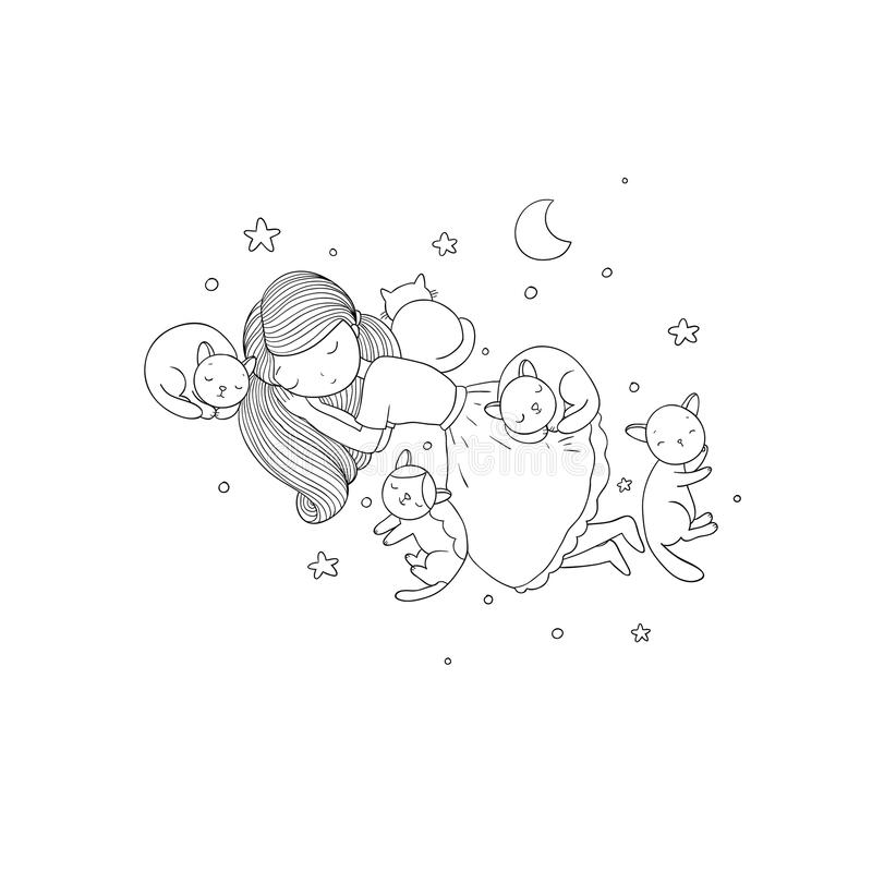 A cartoon girl and cute cats sleeping. Lovely Pets. vector illustration
