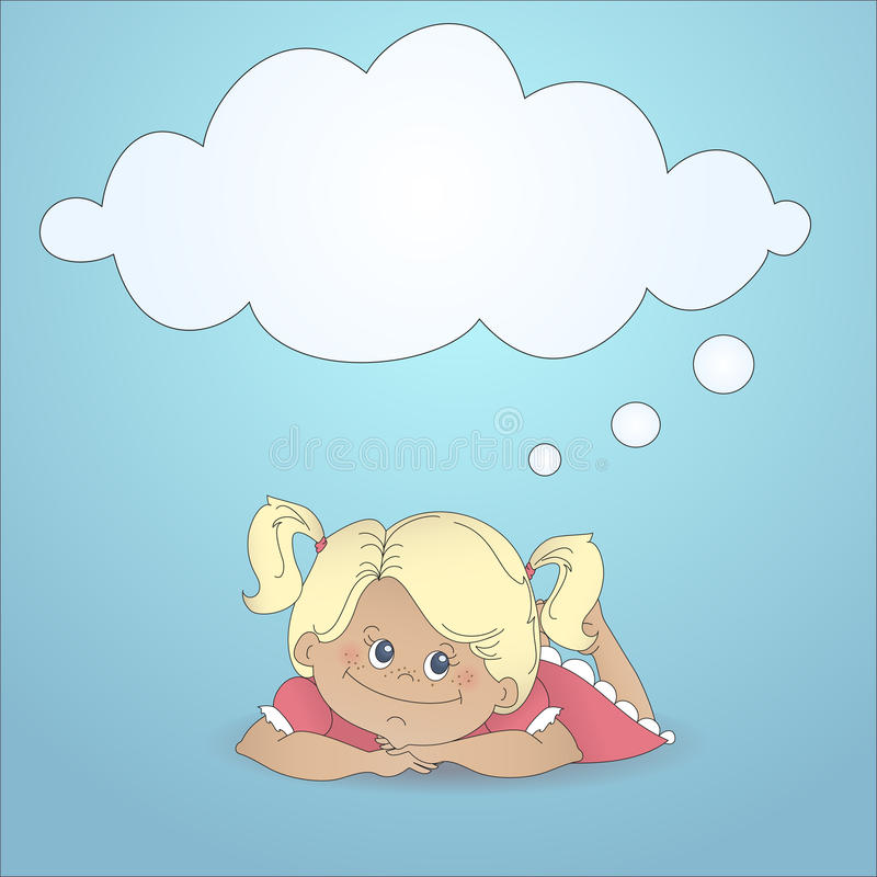 Download Cartoon Girl Dreaming With A Thought Bubble Stock Vector - Image: 26855596