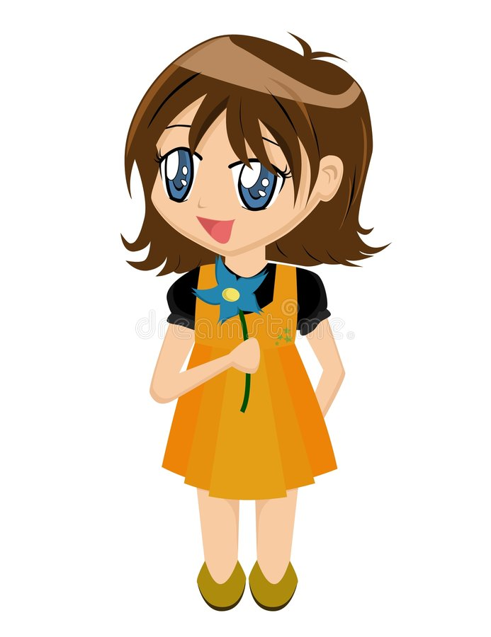 Download Cartoon Girl with Flower stock vector. Image of lovable - 1917829