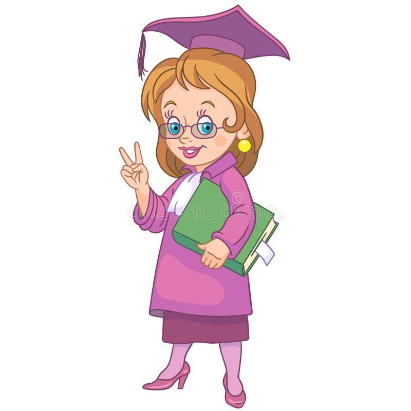 Cartoon girl graduating school royalty free stock photo
