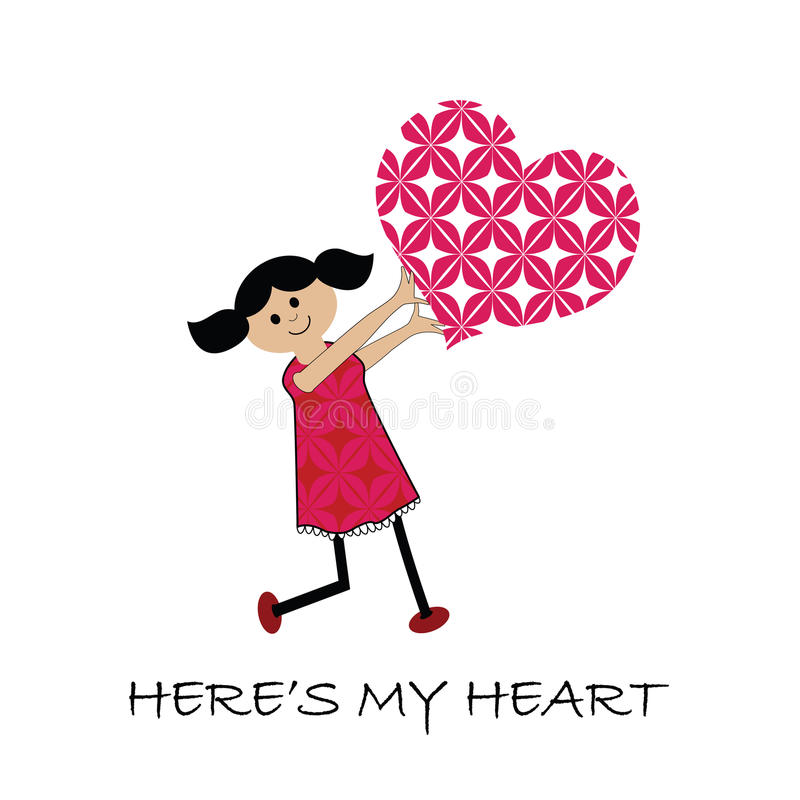 Cartoon girl with heart (SEAMLESS Patterns) royalty free illustration