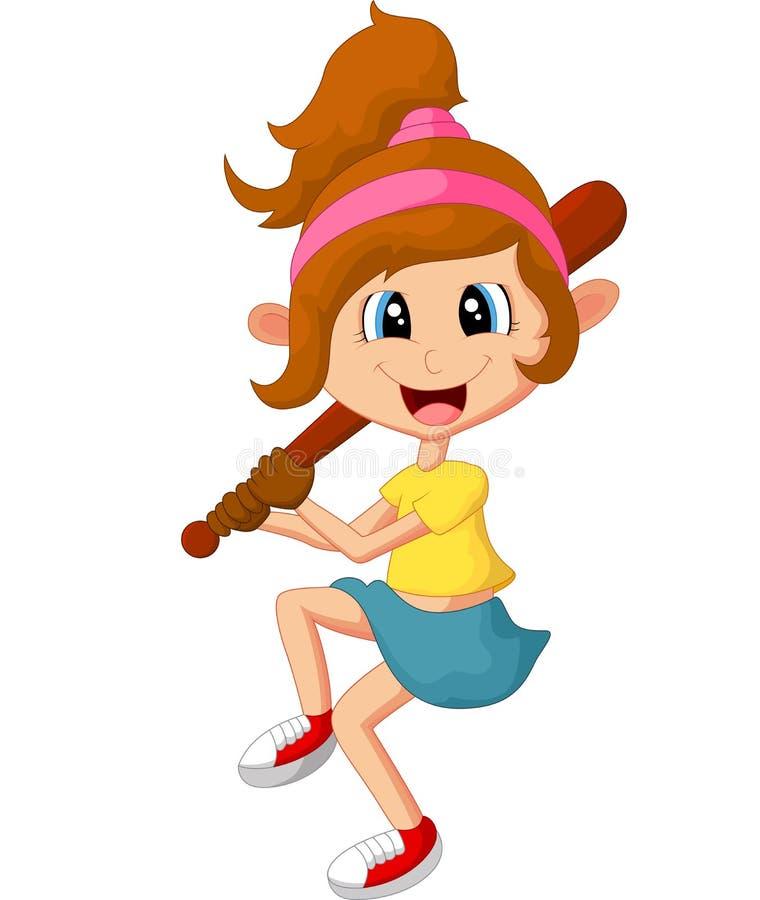 Cartoon girl holding stick base ball stock illustration