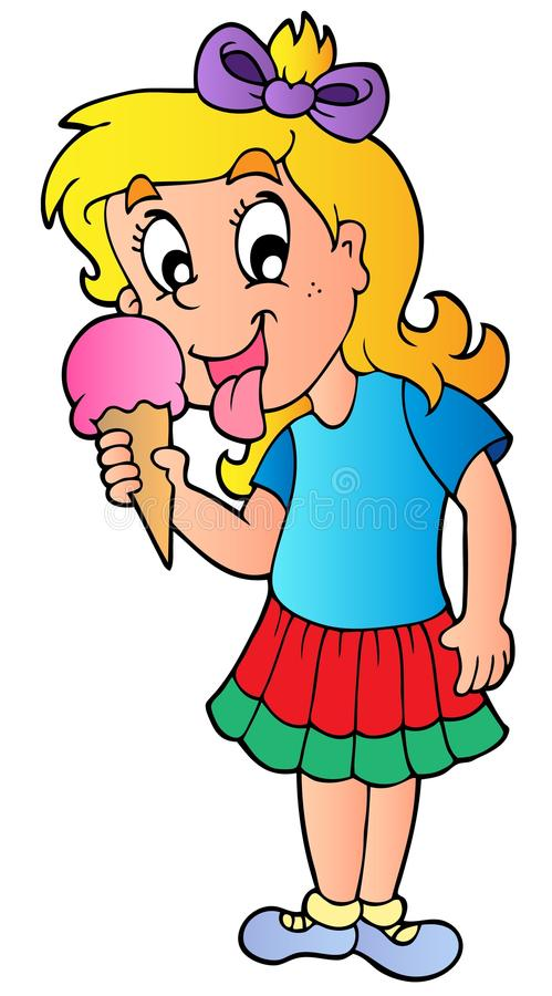 Cartoon girl with icecream stock illustration