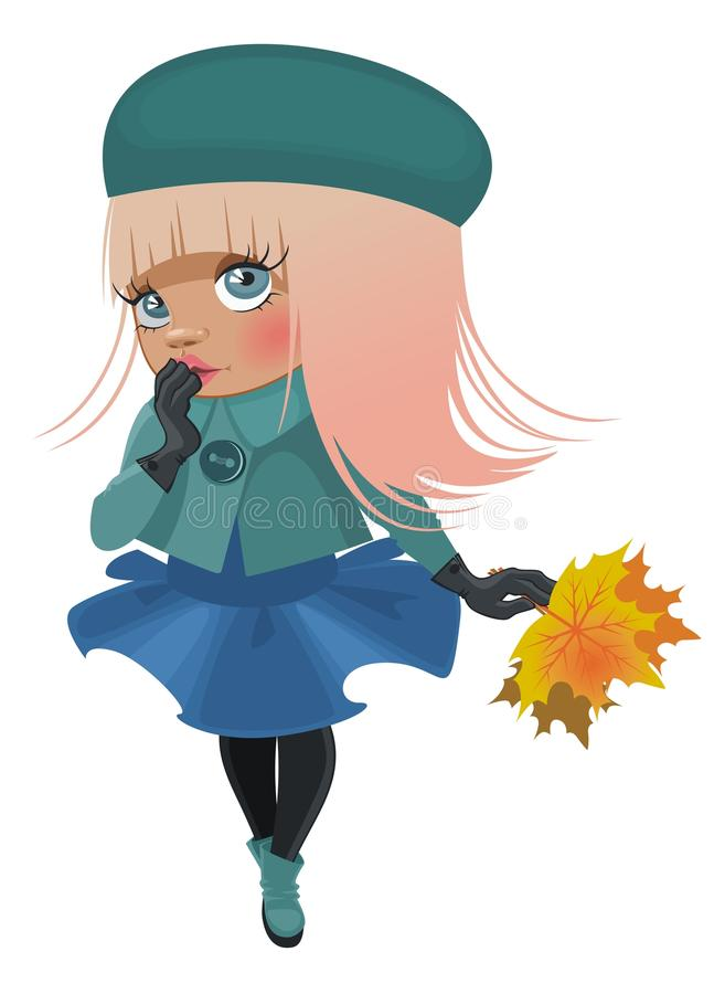Cartoon girl in a jacket royalty free illustration