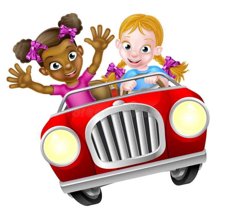 Cartoon Girl Kids Driving Car. Two cartoon girls having fun driving fast in a car vector illustration