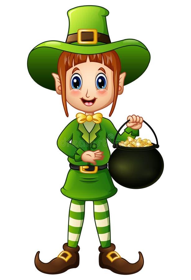 Cartoon Girl Leprechaun Holding A Pot Of Gold Stock Vector ...