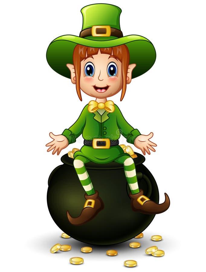 Cartoon Girl Leprechaun Sitting On Pot Of Gold Stock ...