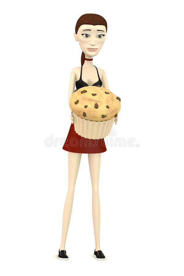 Cartoon Girl With Muffin Stock Image
