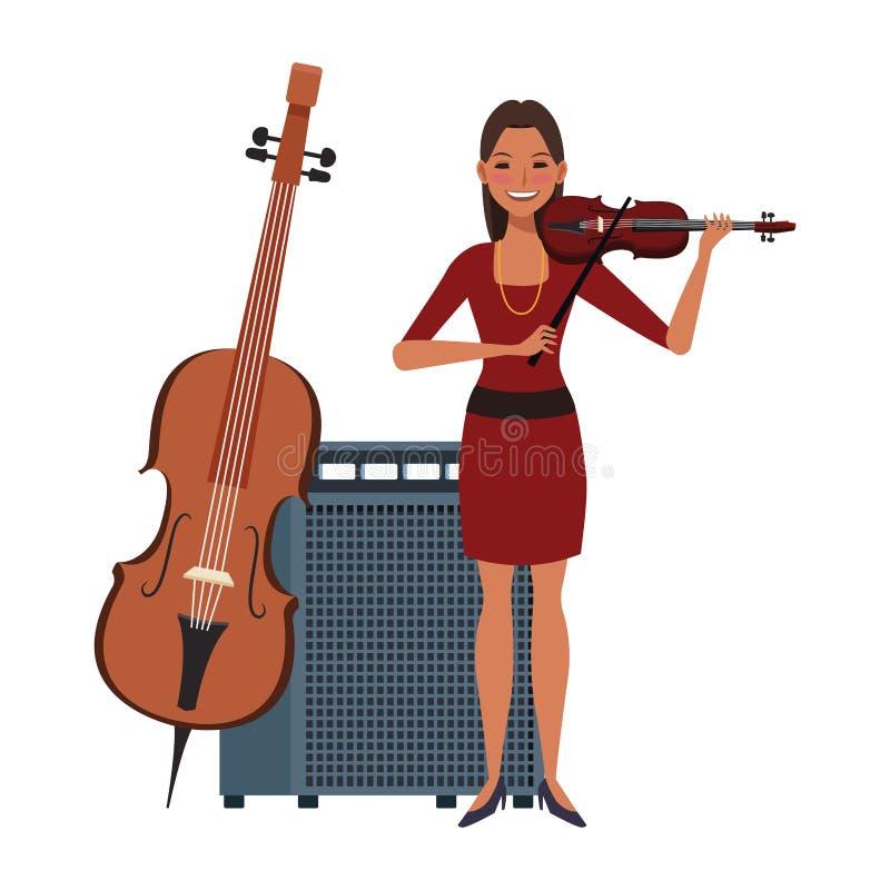 Cartoon girl muzikant met viool, vlak design vector illustratie