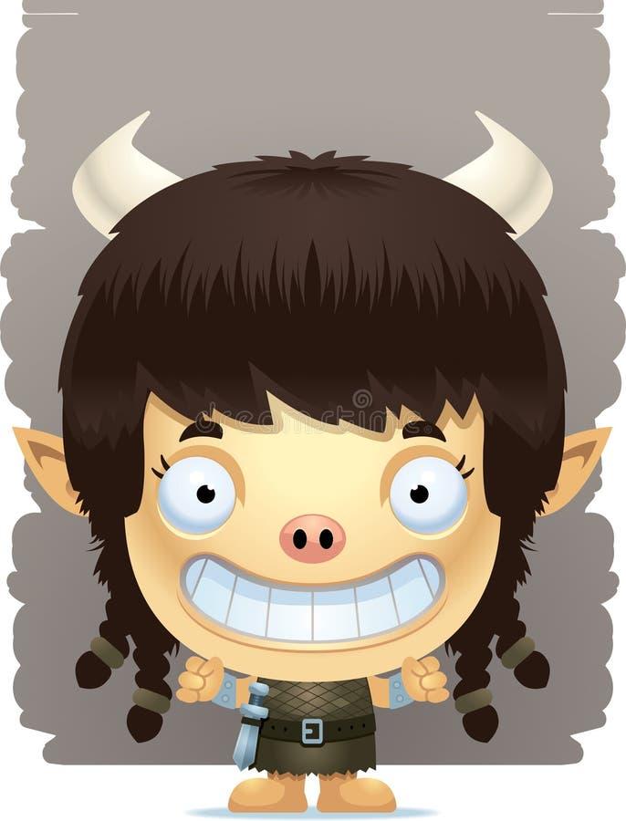 Cartoon Girl Ogre Smiling stock illustration