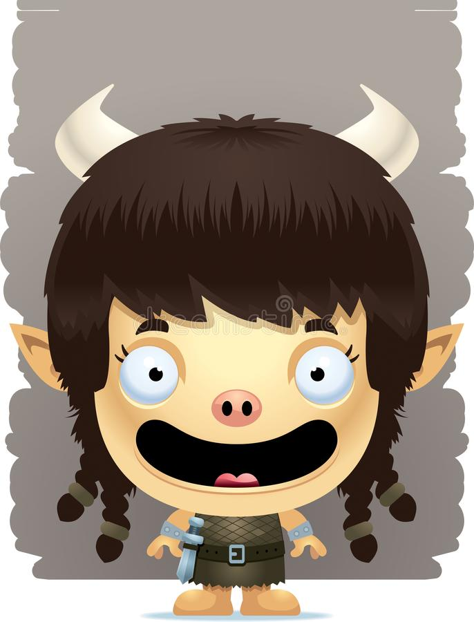 Cartoon Girl Ogre Smiling vector illustration