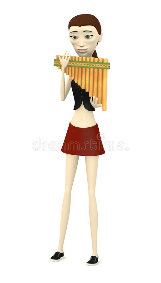 Cartoon Girl With Pan Flute Stock Illustration - Image ...