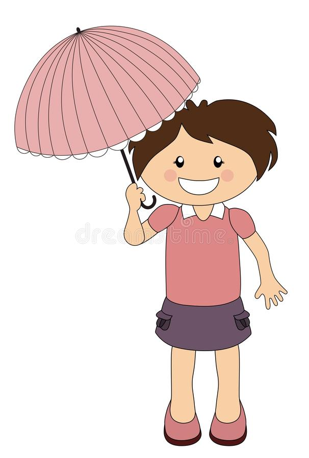 Cartoon girl with parasol isolated on white royalty free illustration