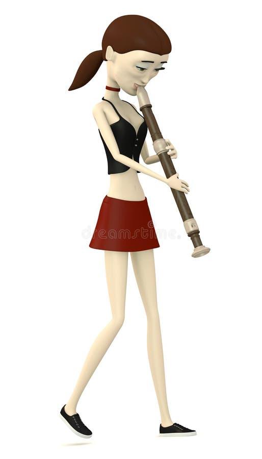 Cartoon Girl Playing On Flute Stock Illustration ...
