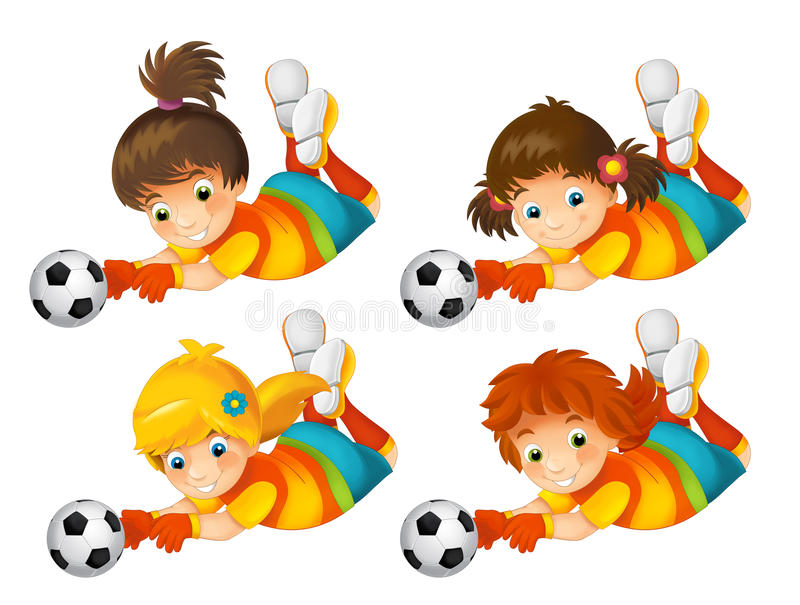 Cartoon girl playing football - sport activity. Happy and funny traditional illustration for children - scene for different usage stock illustration