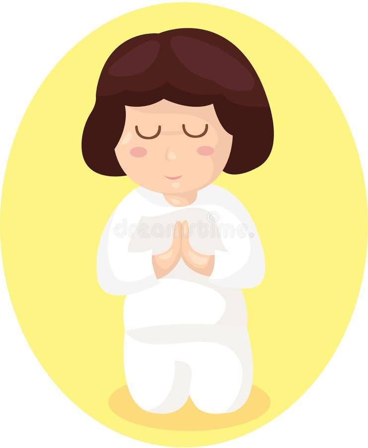 Cartoon girl praying royalty free illustration