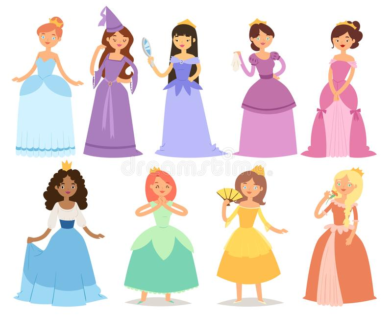 Cartoon girl princess characters different fairy-tale clothes dress cute adorble girls vector illustration. vector illustration