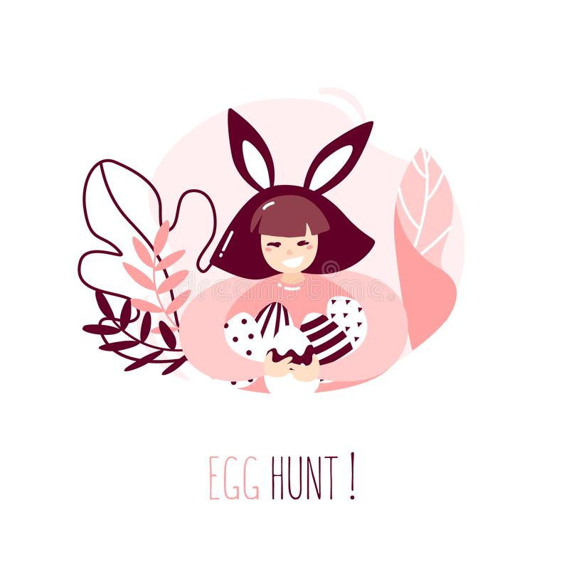 Cartoon girl with rabbit ears, plants and Easter eggs on white background. Happy Easter card in trendy flat linear style. Vector b vector illustration