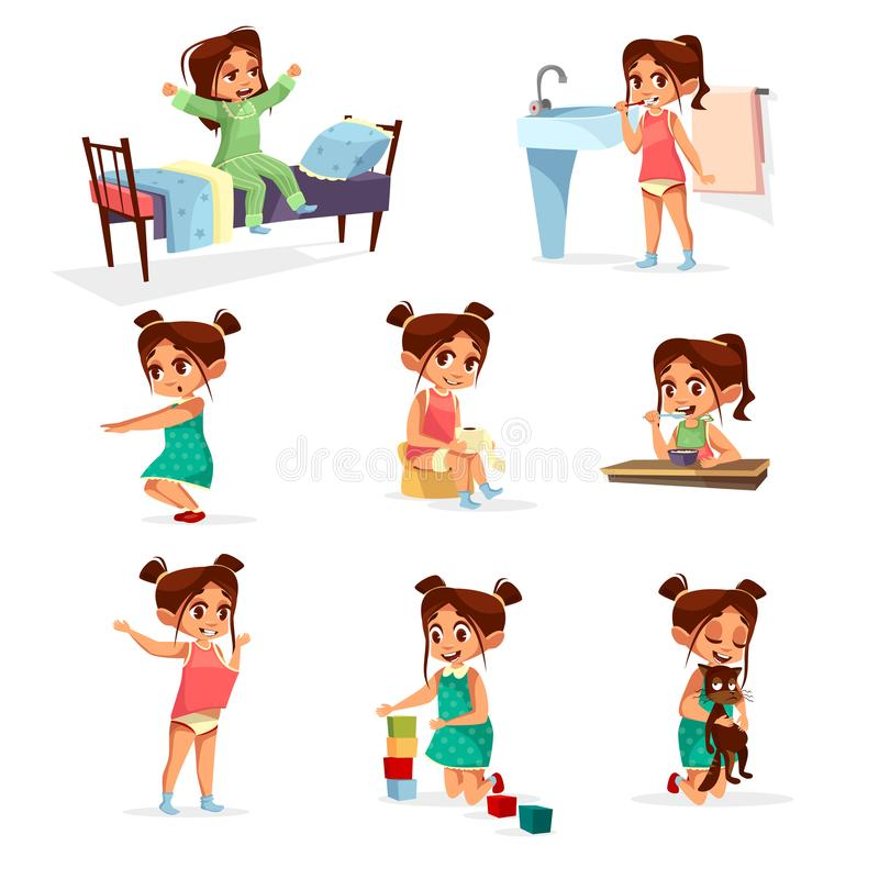 Cartoon girl daily routine activity set. Female character wake up, stretch, brushing teeth doing gymnastics, toilet, dressing up eat breakfast play cat, cube vector illustration