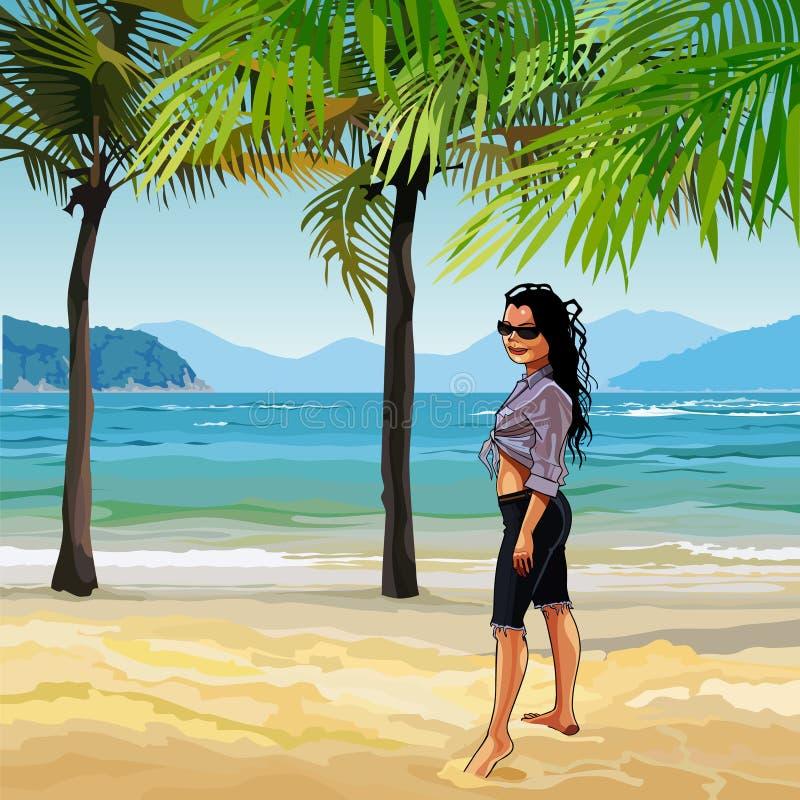 Cartoon girl on the sandy beach with palm trees vector illustration