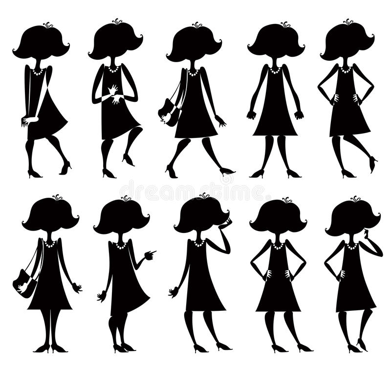 Download Cartoon Girl Silhouettes Set. Royalty Free Stock Image - Image: 18468486