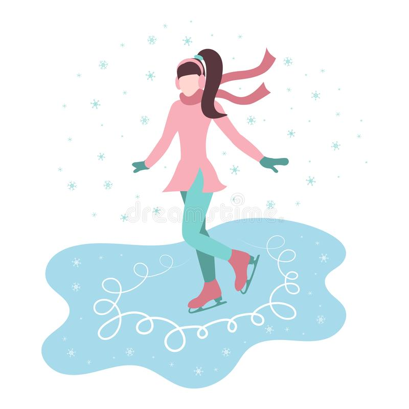 Cartoon girl skates on ice in the street, snow is falling. royalty free illustration