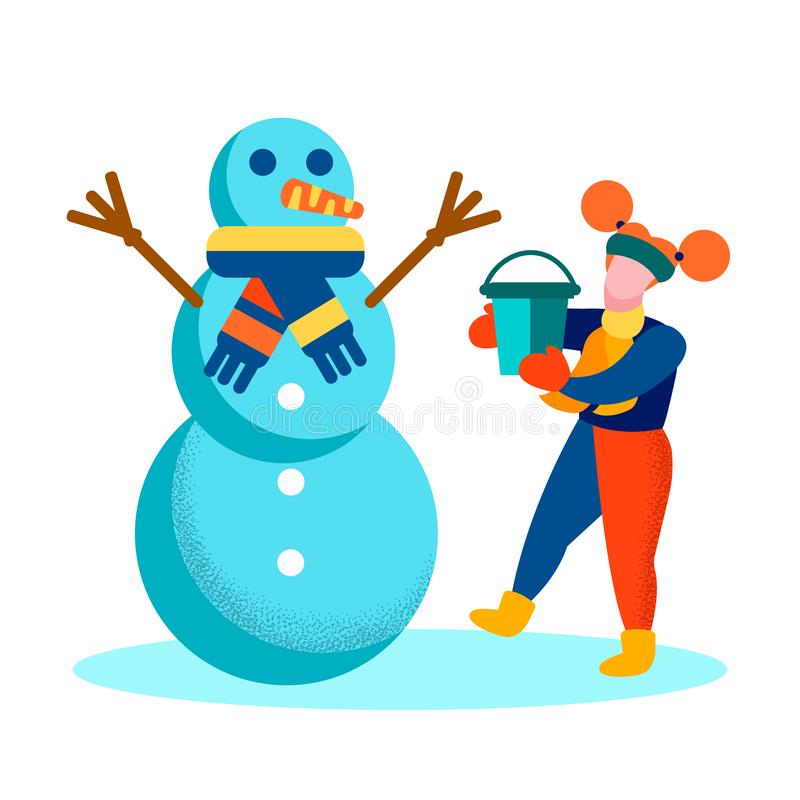 Cartoon Girl and Snowman Happy Wintertime Card stock illustration