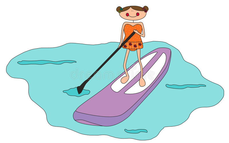 Download Cartoon Girl Stand Up Paddle Boarding Stock Illustration