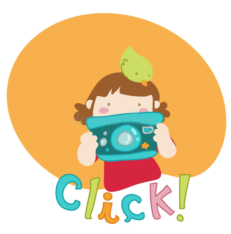 Cartoon girl takes a picture royalty free stock photos